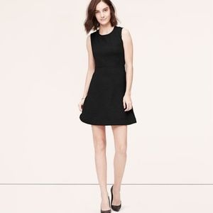 NWT LOFT Black Faux Leather Trim Quilted Dress